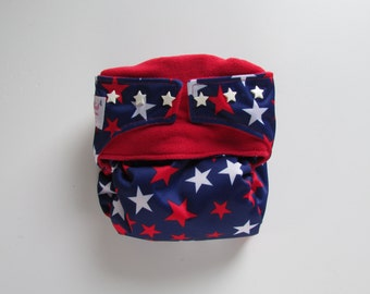 One Size TADA AIO/2 Cloth Diaper in Red and White Stars on Navy