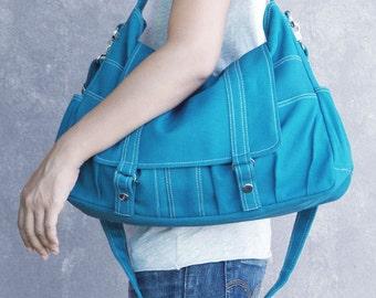 ASTER  // Teal / Lined with Beige / 014 // Ship in 3 days // Messenger / Diaper bag / Shoulder bag / Tote bag / Purse / Gym bag