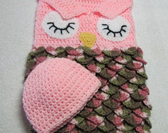 Pink Owl cocoon and cap for baby