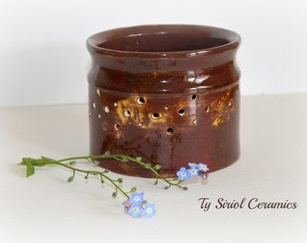 Brown candle, tea light vase, luminary. Handmade in the UK.