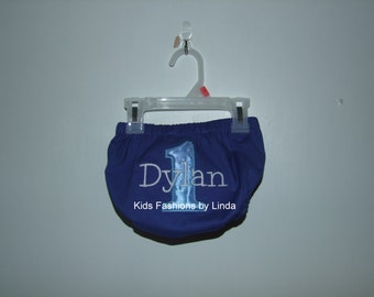Personalized Birthday Number  Dark Royal Blue Diaper Cover