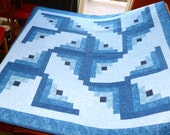 "Handmade Quilt 64""x64"" machine Log Cabin Windmill quilt - In Colors of Blue"