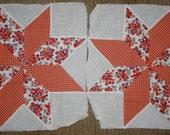 Two Vintage Cotton Pieced Star Design Quilt Blocks