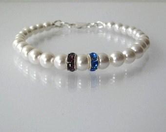 Mother's Birthstone Bracelet, Birthstone Bracelet, Two Stone Birthstone Bracelet, Crystal Birthstone Bracelet, Mother's Birthstone Jewelry