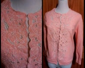 VTG 50s Pink Bombshell Beaded Hand Embroidered MAD MEN Cardigan Sweater Top