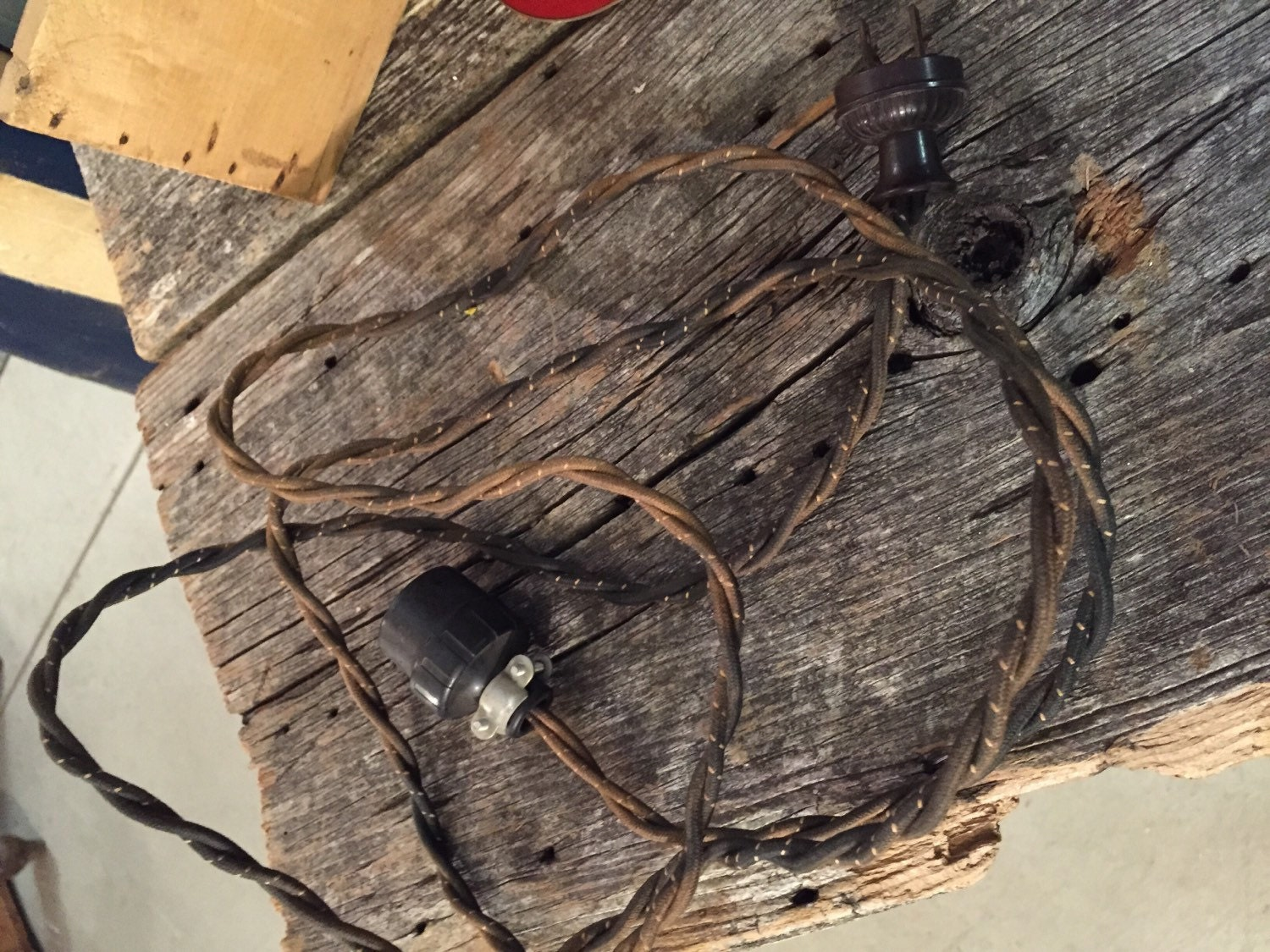 vintage 1920s cloth extension cord antique cord lighting