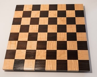 """Gorgeous Handcrafted Cambia & Tiger Maple Borderless Chess, Checkers Board -Small, 1 3/4"""" Squares--FREE SHIPPING within continental U.S."""