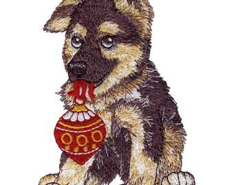 Christmas Ornament German Shepherd Embroidered Flour Sack Hand/Dish Towel