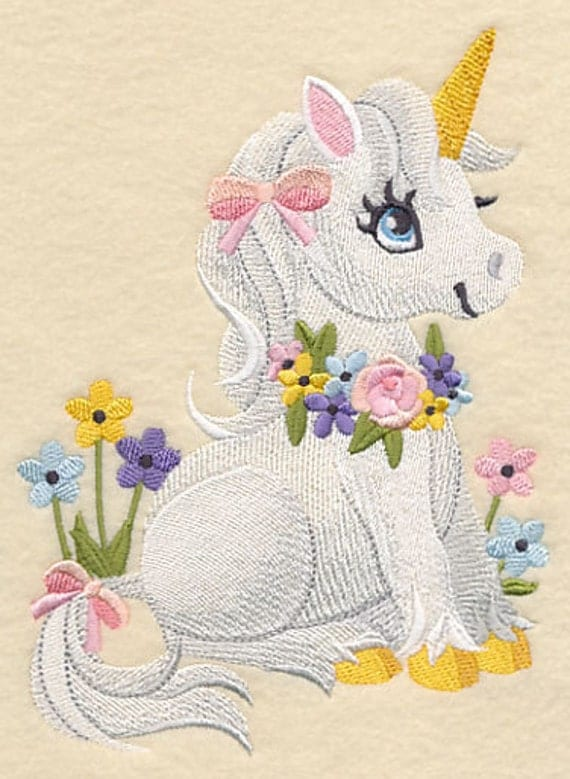 Soft and sweet unicorn embroidered flour sack hand dish towel