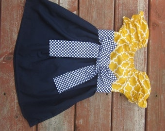 Girls Mustard Yellow Lattice and Navy Peasant Dress with Navy Dot Sash 6 12 18 24 2T 3T 4T 5/6 7/8 9/10 11/12