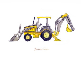 Backhoe Loader construction watercolor print, 8x10""