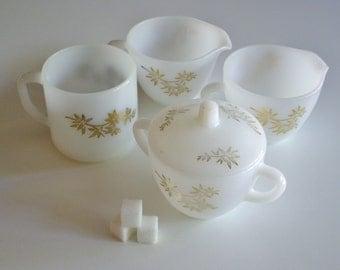 Vintage Federal Glass Golden Glory Bamboo Milk Glass Coffee Set - Mug, 2 Creamers, Lidded Sugar