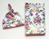 White Vintage Floral Swaddle Blanket And Newborn Hat - Baby Blanket