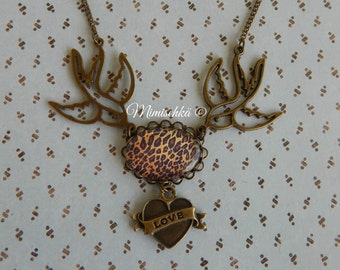 Necklace tattoo swallow leopard and heart love