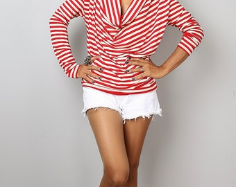 Striped Tunic / Trendy Blouse Tunic / Red Cream sweater : Urban Chic Collection No.23