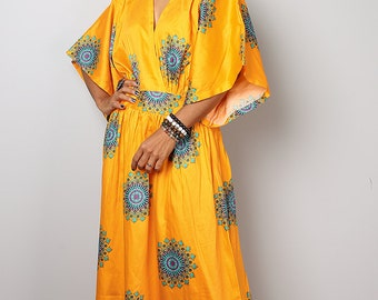 Kimono Dress -  Bohemian Yellow Maxi Dress : Boho Kimono Collection No 1.1