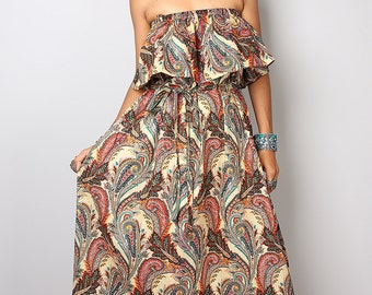 Boho Summer Dress - Bohemian Paisley Dress: Sunny Dreams Collection No.4