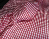 Vintage Silk Fabric Red and White Check, Checker Fabric, Silk Yardage, Silk Material