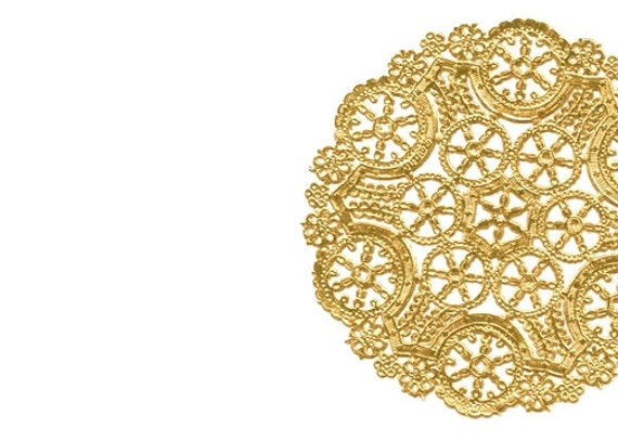 gold paper doilies Buy 12 medallion gold foil paper doilies royal lace from geographics and save made in usa.
