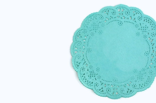 Teal Doilies French lace round paper doilies hand by TodoPapel