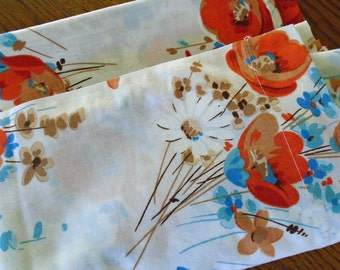 New Vintage Floral Sheet / Twin Flat Sheet / Orange Flowers / Room Concepts Bibb / No Iron Muslin / The Bibb Company / Silk Flowers Design