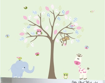 Childrens wall decal, wall decal, tree nursery decal, baby wall decal, nursery jungle tree, owl wall decals