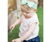 New { the Addy } mint lace bow headband . Newborn, toddler, child, teen, adult