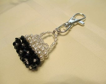 Purse Charm or Zipper Pull in Black and White