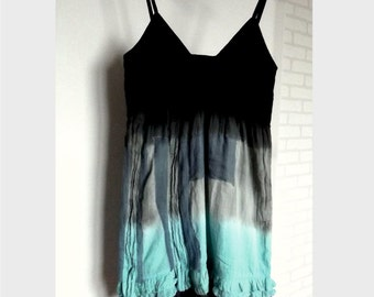 summer dress, cotton, blue, gray, upcycled dress, recycled dress, boho, beach