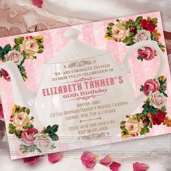 Victorian wedding invitations, wedding shower invitation printable, wedding invitations, pink floral tea party, Victorian retirement, IN372
