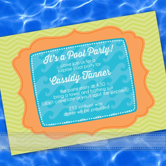 birthday party invitations, chevron party invitations, pool party invitations, neighborhood barbeque, lime party invitations, IN393