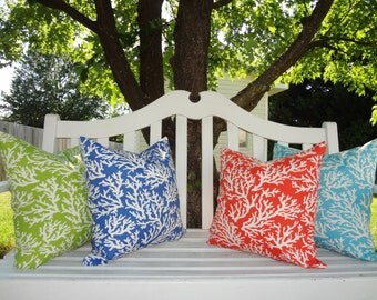OUTDOOR Orange Lime Blue Coral Print Pillow Cushion Cover Coral Porch Decorative Pillow Covers 18x18