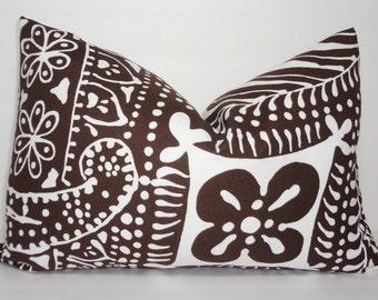 Brown & White Floral Print Lumbar Pillow Cover Brown Floral Lumbar Pillow Cover 12x18