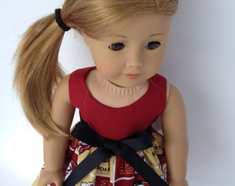 18 inch Doll Dress using  Florida State Univeristy Block fabric,  made to fit 18 inch dolls such as American Girl and similar 18 inch dolls