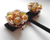 Vintage Cluster Earrings Gold and Warm Colors 1950s Hong Kong Bridal Mother of the Bride