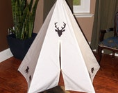 Ivory mini 5 sided deer head painted teepee with dark stained wooden polls