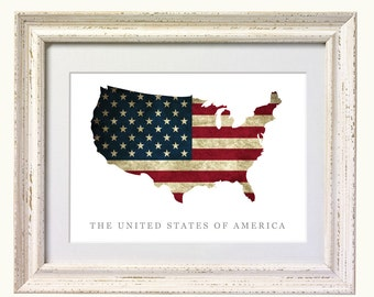 Flag Map of United States Print. 8x10 on A4 Archival Matte Paper