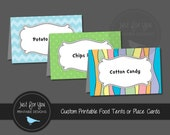 Printable Pastel Rainbow Food Tent Labels or Place Tags - Birthday, Baby Shower, Graduation, Goodbye Party - YOU PRINT (Digital File)