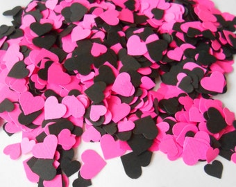 Over 2000 Mini Confetti Hearts. Pink & Black. Weddings, Showers, Decorations. ANY COLOR Available. Table Decor