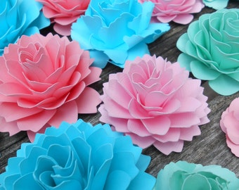Paper Cake Flowers, Table Decorations. CHOOSE YOUR COLORS. Set of 20. Weddings, Showers, Paper Flowers, Decoration