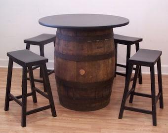 "White Oak Whiskey Barrel Table-36"" Table Top (4) 24"" Black Bar Stools-FREE SHIPPING"