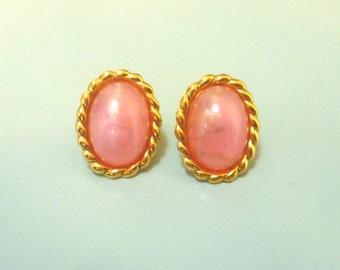 Vintage 1970s Pink & Gold Earrings
