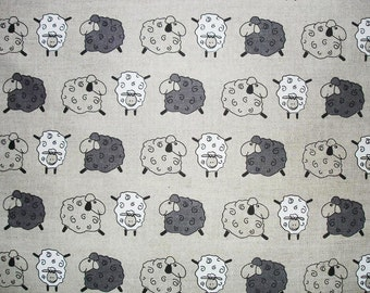 Linen Fabric with Sheeps, Eco Friendly, 50x150 cm (19,7 x 59 inch)