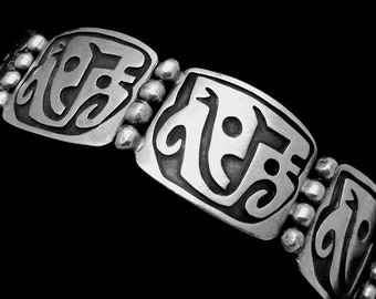 Vintage 1950s Taxco Mexico Mexican Sterling Silver Heavy Wide Bracelet 20705