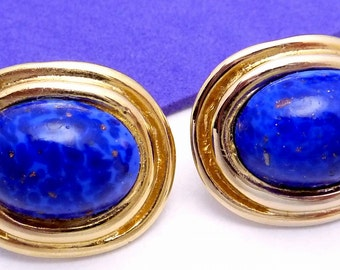 Vintage Gay Boyer Gold Plated Lapis Glass Elegant Earrings 20958