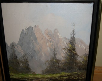 Antique Swiss Landscape Painting Signed