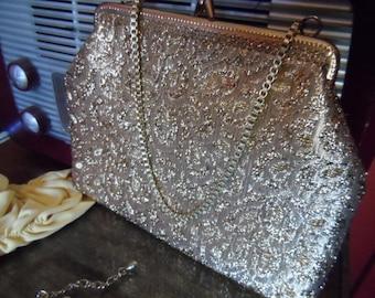 Purse silver 1950s 1960s evening bag