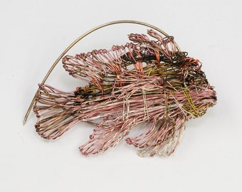 Fish brooch Metal wire art Fish jewelry Ocean fish Tropical jewelry Sea art sculpture womens colorful jewelry Coral pink Statement brooch