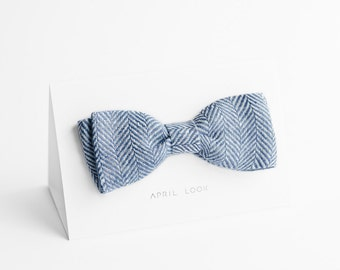 Men's bow tie in grey blue, chevron bow tie, MADE TO ORDER