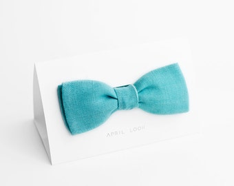Aqua bow tie for men - double sided